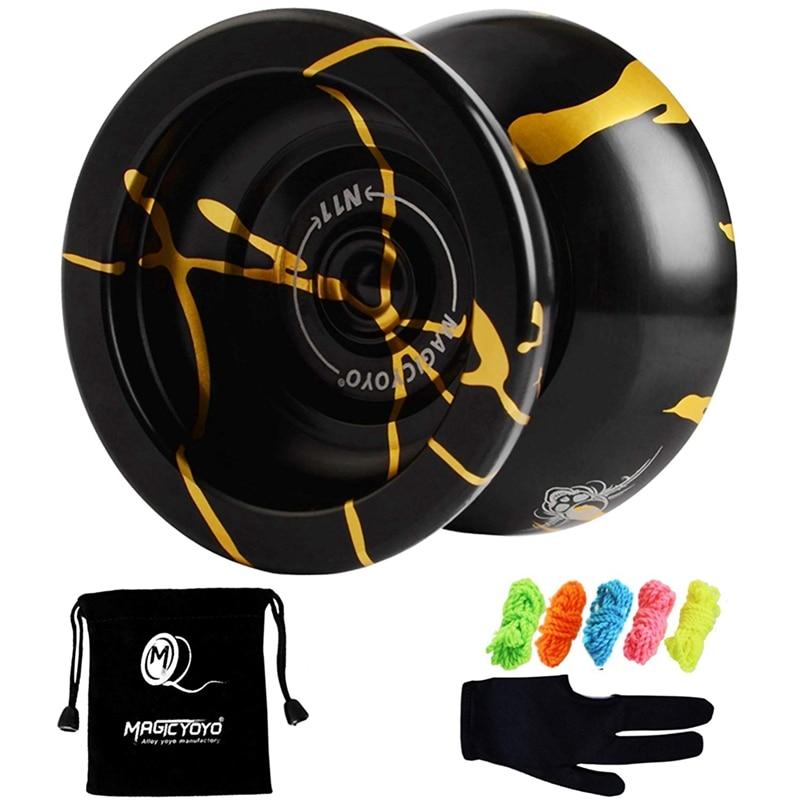 Magicyoyo N11 Alloy Aluminum Professional Yoyo Unresponsive Yoyo Ball (Black Golden) Bag, Glove 5 Strings
