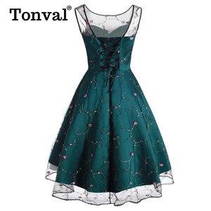 Image 3 - Tonval Çiçek Işlemeli Örgü Tatlım Parti Elbise Kadınlar Lace Up Geri Yüksek Düşük Hem Fit ve Flare Bayanlar Zarif Elbiseler