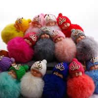 Super słodki kreatywny korona lalka brelok brelok z futrzaną kulką biżuteria do torebki akcesoria prezent dla kobiety