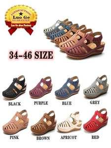 Women's Sandals Non-Slip Soft-Bottom Plus-Size Heel-Hook Mid-Heel Summer New Slope Loop