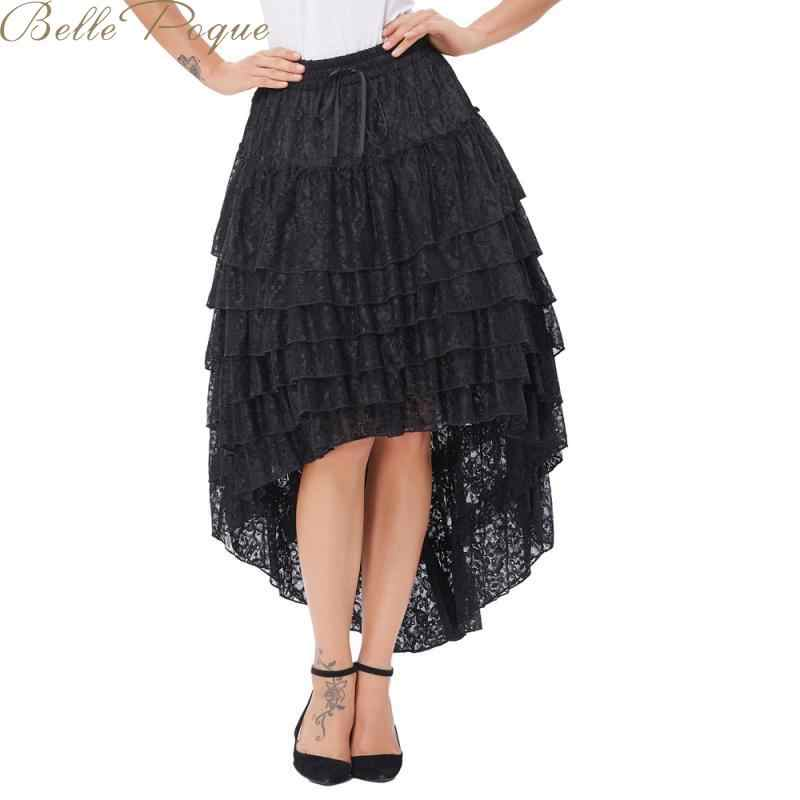 Belle Poque Lace Up Black Skirt Women Asymmetric Steampunk Vintage Punk Style Skirts Female High Wist Elegant Open Skirt 2019