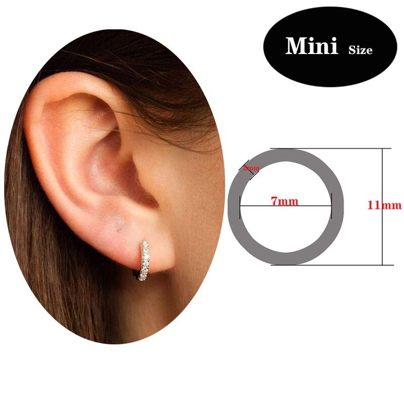 Slovecabin 12 Types Huggie Hoop Earrings with Clear Zircon Crystal 925 Sterling Silver European Women Simple Earring Jewelry