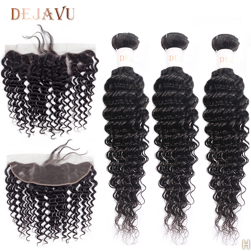 13x4 Frontal With Bundles Brazilian Deep Wave Bundles With Frontal Human Hair 3 Bundles With Lace Closure Non-Remy Hair Dejavu