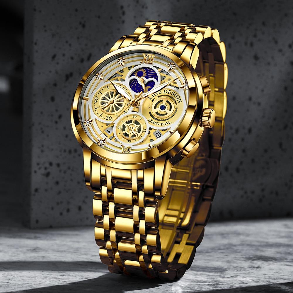 2021 Nieuwe Luik Sport Mannen Horloge Top Brand Luxe Goud Roestvrij Staal Quartz Wrsit Horloge Mannen Mode Holle Waterdicht Chronograaf 2