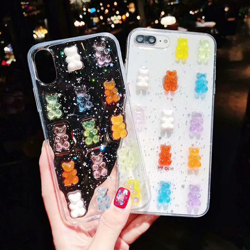 Crystal Cute Bear For OPPO R17 R15 Pro R11 Plus Phone Case R9s A37 A39 A73 A79 A83 A5 Transparent Candy Drop Glitter Back Case