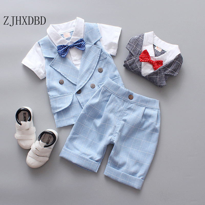 3PCS Kids Formal Suits For Baby Boy Costume Cotton Boys Suits Summer 12M-8Y Boys Blazers Suits Set Wedding Wear Children Clothes