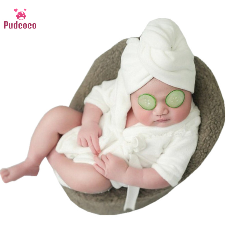 Pudcoco Newborn Bathrobe New Children's Photography Props Bebe Clothing White Winter Warm Cotton Thick Baby Photo Sleepwear