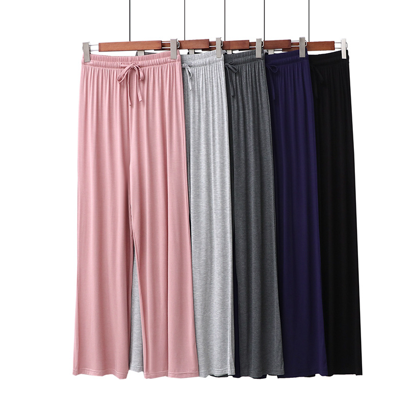 Summer Middle Waist Straight Modal Long Home Pants Solid Colors Women Home Wear Clothes Sleep Pants For Homewear