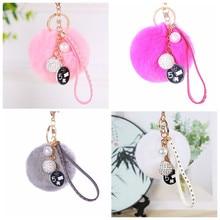 Women Keyrings Artificial Rabbit Fur Ball Keychain Handbag Charm Pendant with Rhinestone Leather Decor Key Chain