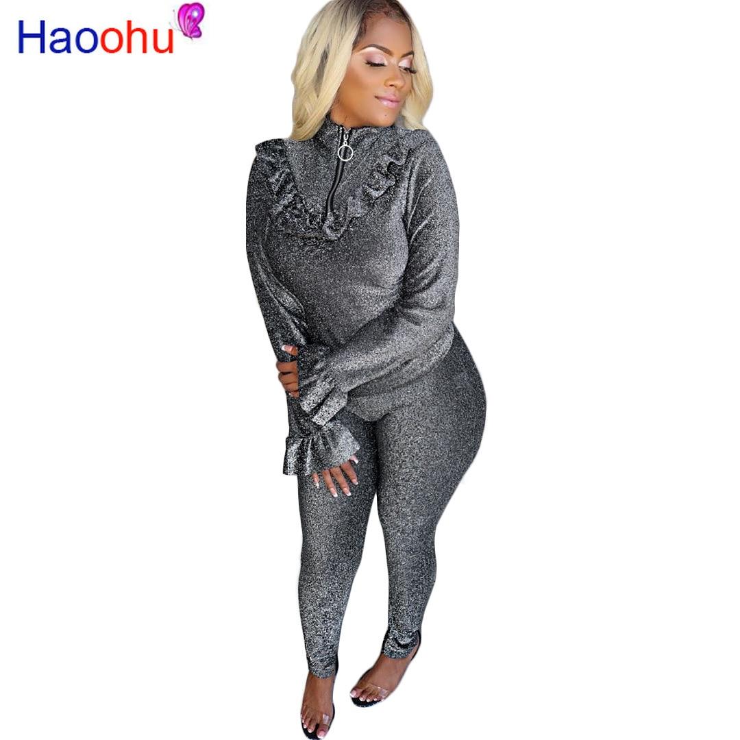 Lurex Velvet Causal 2 Piece Set Outfits Women Long Flare Sleeve Ruffles Zipper Top And Pencil Pants Plus Size Two Piece Sets