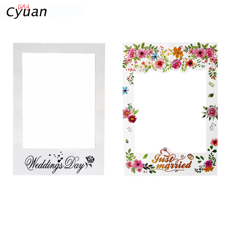 Cyuan Flowers Just Married Photo Booth Frame Wedding Party Decoration Bridal Shower Decoration Paper Frame Photobooth Props