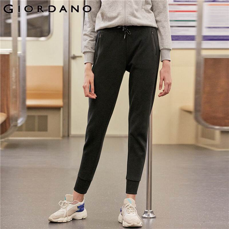 Giordano Women Pants Zip Pocket Cotton Blend Joggers Elastic Waistband Knit Pants Pantalones Mujer Spodnie Damskie 05419147