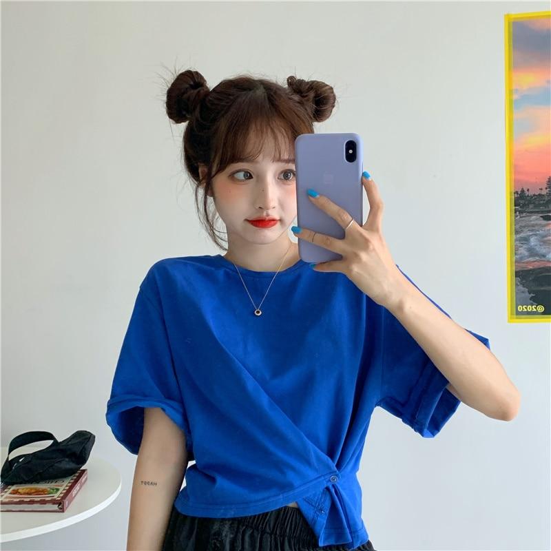 Женская футболка на пуговицах, необычная короткая футболка с коротким рукавом и высокой талией, лето 2021