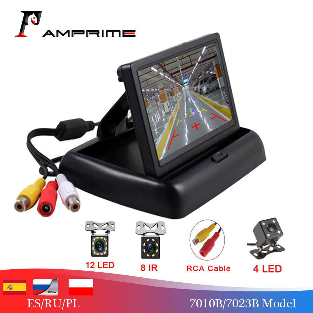 AMPrime 2 In1 Parking Assist 4.3 Inch Folding Car Monitor Video Player With Night Vision Waterproof Rear View Backup Camera