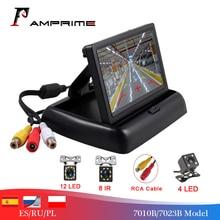 AMPrime 2 IN1 ที่จอดรถ 4.3 นิ้วพับรถ Monitor เครื่องเล่นวิดีโอ Night Vision กันน้ำด้านหลังดูกล้อง