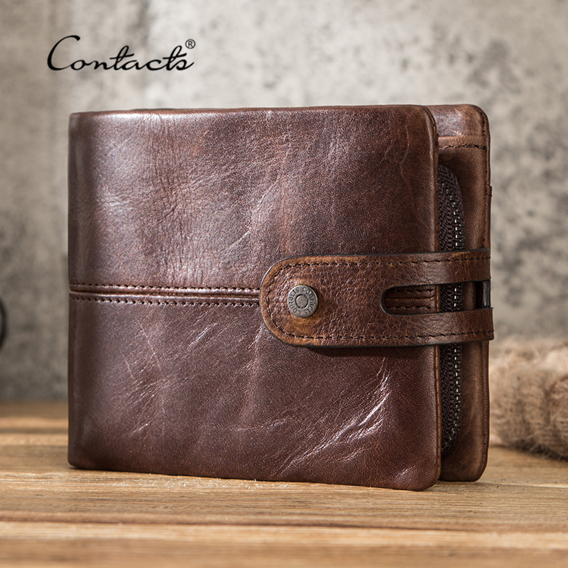 CONTACT'S Casual Men Wallets Crazy Horse Leather Short Coin Purse Hasp Design Wallet Cow Leather Clutch Wallets Male Carteiras