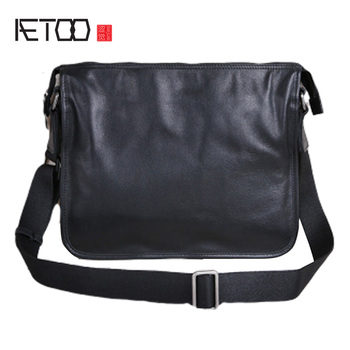 AETOO Leather male bag, ultra-thin shoulder crossbody bag, European and American fashion cowhide simple Casual horizontal bag 2017 new european and american fashion lady bag hand shoulder bag