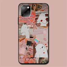 цена на Silicone Case for IphoneSe2020 11 XR 11Pro Max 8P 7P XS 8 6s Cute White Bear illustration Tpu Black Full Protective Back Cover