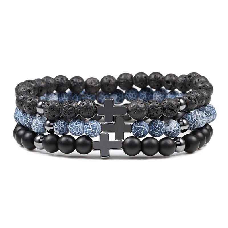6mm Black Lava Rock Stone Onyx Beads Bracelets Classic Cross Stretch Tiger Eye Bracelet Religion Bangle Women Men Wrist Jewelry