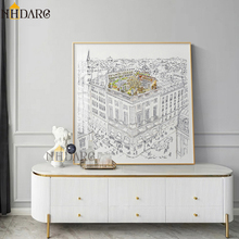 Roof Garden Horse Modern Sketch Decorative Painting Canvas Print Poster Pictures Art Wall Decor for Living Room Square