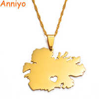 Corazón anniyo Antigua collares colgantes de mapa de Color oro joyería regalos #018821