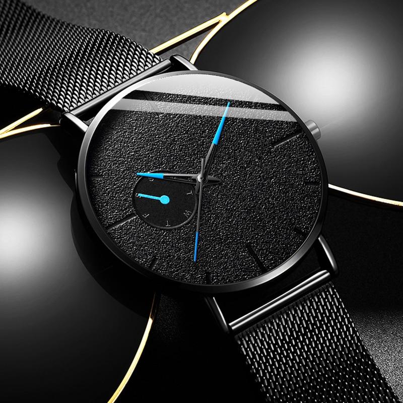 Fashion Mens Minimalist Watches Ultra Thin Men Business Black Stainless Steel Mesh Belt Quartz Wrist Watch Relogio Masculino