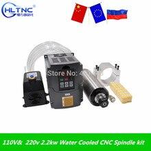 110 볼트 및 220 볼트 2.2kw 물 냉각 CNC 스핀들 모터 ER20 4 베어링 및 2.2kw VFD/인버터 및 80 미리메터 스핀들 클램프 및 75 와트 물 펌프