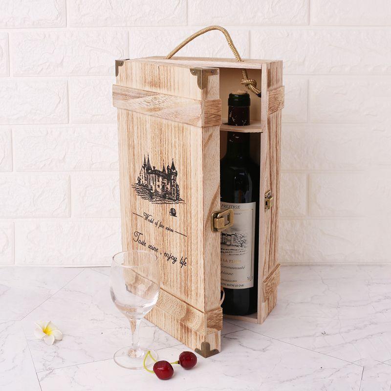 Vintage Rétro Style Chinois Unique Bouteille Bois Vin Rouge Cadeau Box-33.5cm//13/'/'