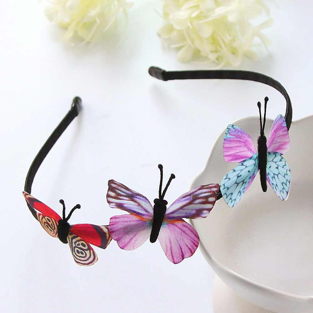 Kids Girls Hair Hoop Band Solid Butterfly Headband Headwear Hairband Accessories