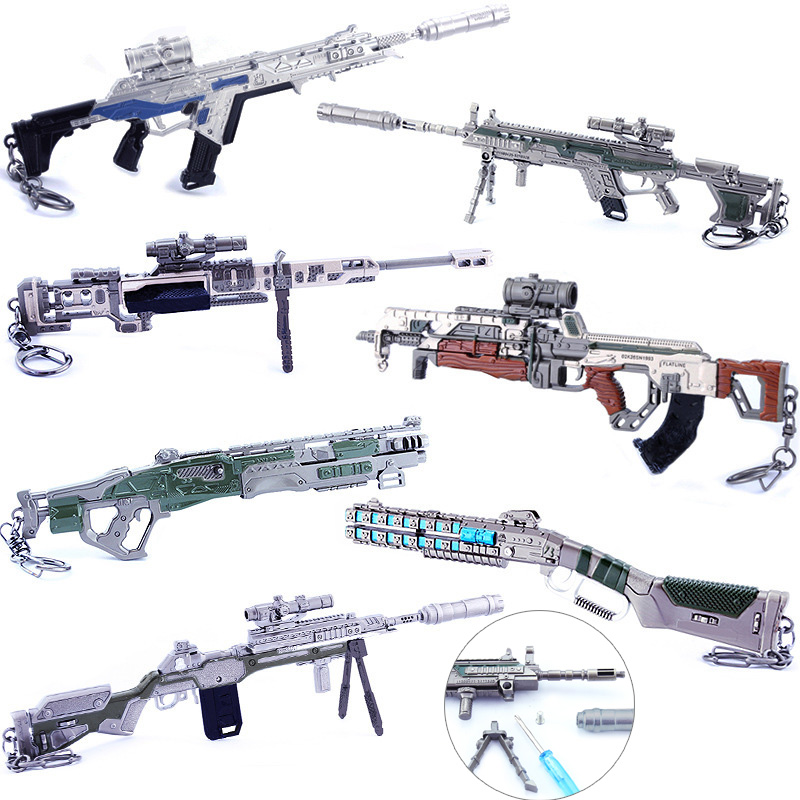Metal Keychain Battle Royale APEX Legends Game Metal Alloy Rifle Gun Model Monster Hunter Thrones Sword Toys Kids Gifts 20cm