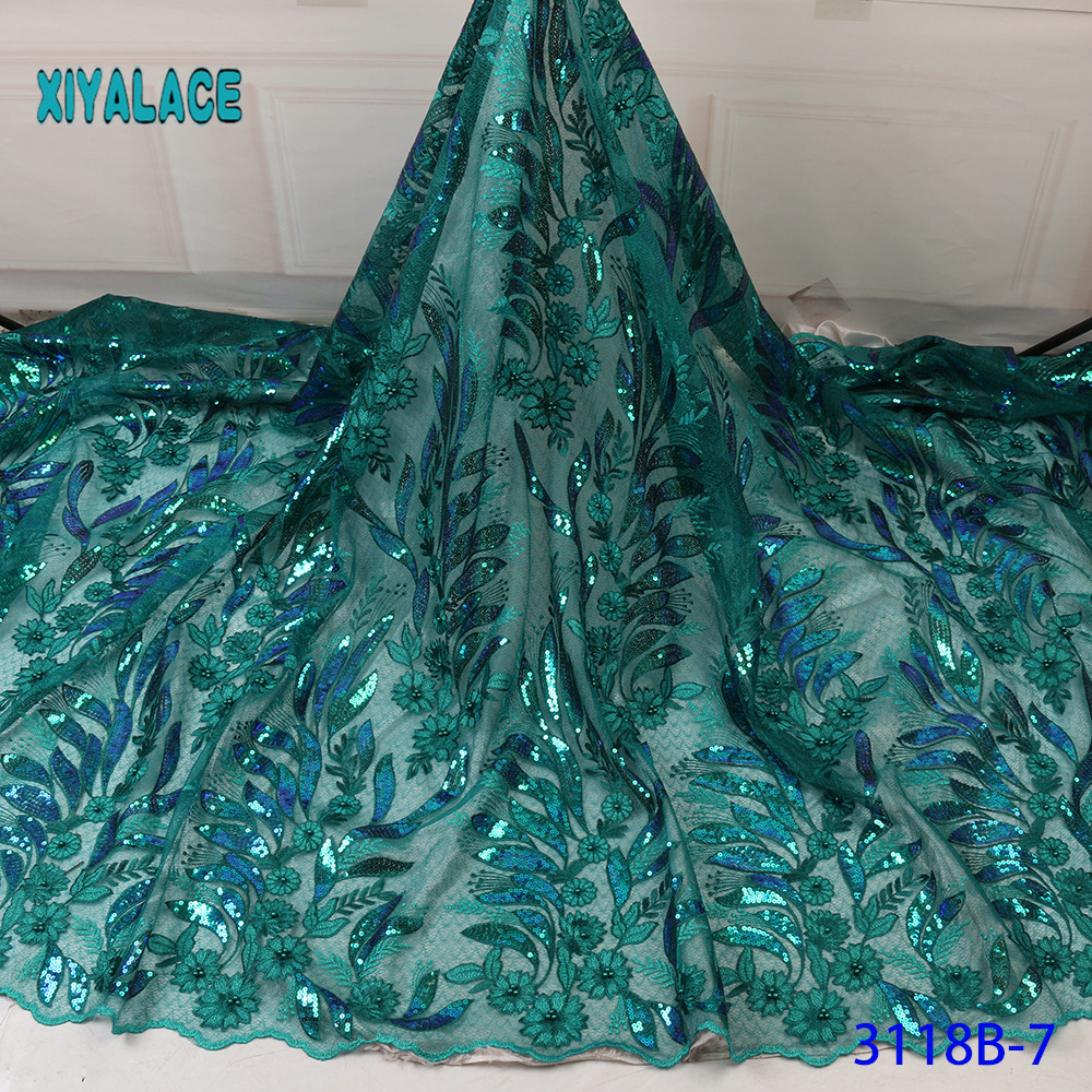 2019 High Quality Lace African Tulle Lace Fabric French Sequins Lace Fabric Women Wedding Dress African Lace Fabric YA3118B-7
