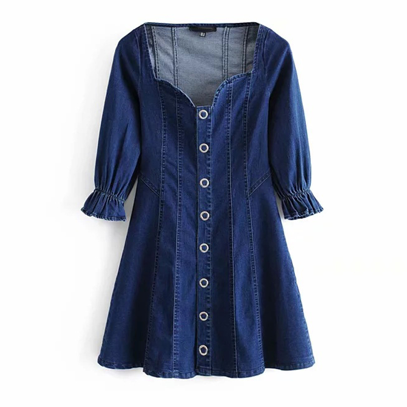 New Autumn Vintage Puff Sleeve Button Down Denim Dress Sexy Low Cut Square Collar Flattering Stretch Jeans Dress Women Vestidos in Dresses from Women 39 s Clothing