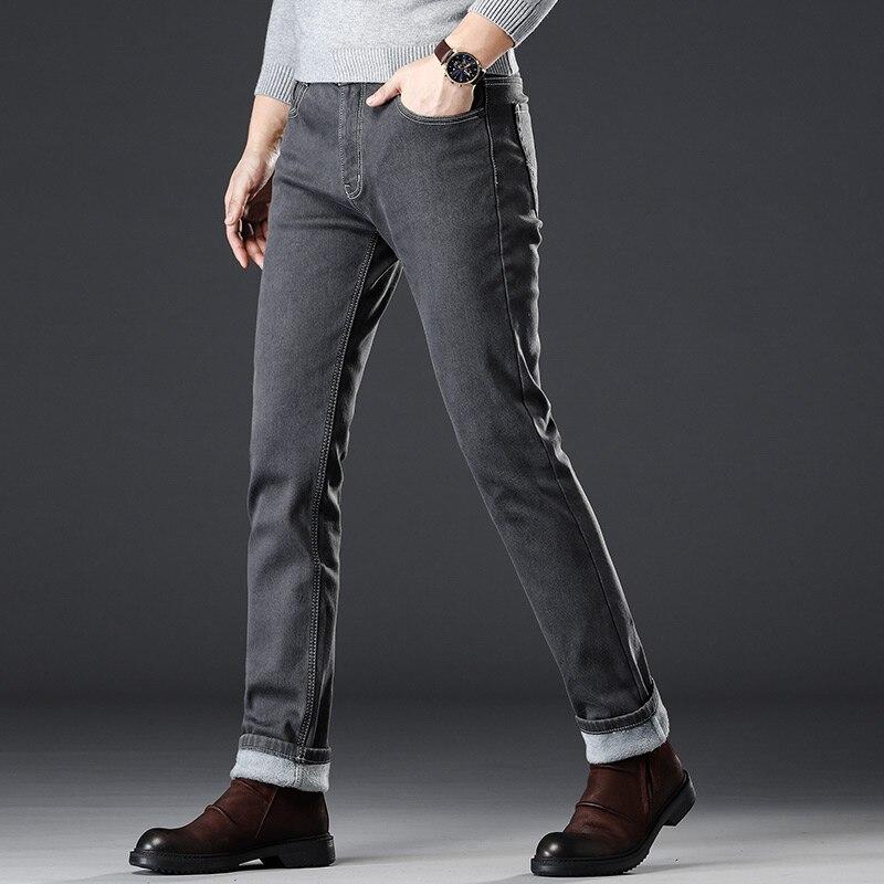 Odinokov Fleece Thick Velvet Pants Warm Jeans Casual Grey  Fleece  Winter Jeans Men Elasticity Grey Jean Jeans With Zipper Men