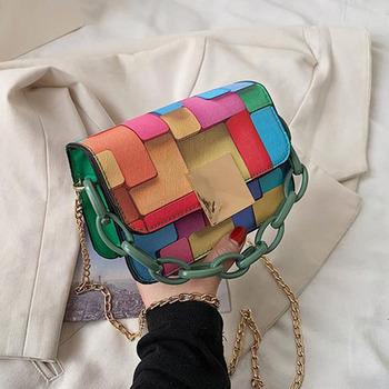 2021 modne torby damskie torebki na ramię łańcuch przenośne torebki damskie Crossbody torebki i torebki luksusowe Mini torba kwadratowa BG1753 tanie i dobre opinie HISUELY FLAP torby kurierskie CN (pochodzenie) klamerka SOFT wytrzymała torba moda POLIESTER Versatile WOMEN PANELOWANA