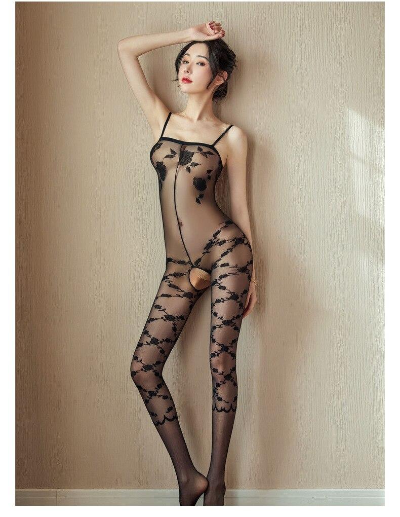 Hbac92070ea964fb98727974b298ec77dZ Lencería Sexy íntima para mujer, disfraces sexys de osito, kimono porno, mono de manguera, ropa interior, medias elásticas de malla de color negro ajustado