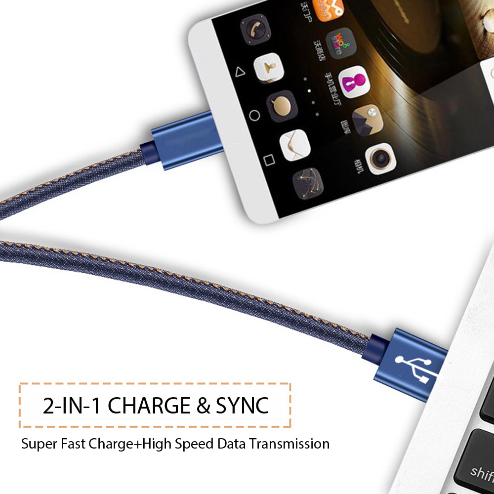 PUJIMAX Micro USB Cable Denim Braided with Adapter Fast Charging Data sync cable For Samsung Huawei Xiaomi iphoneX USB Converter in Mobile Phone Cables from Cellphones Telecommunications
