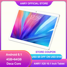 ANRY Tablet Android 8.1 Deca Core MTK6797T X25 8000mAh Dual Sim 1920*1200 4+64GB 4G Phone Call 8000mAh 10.1 Tablet PC