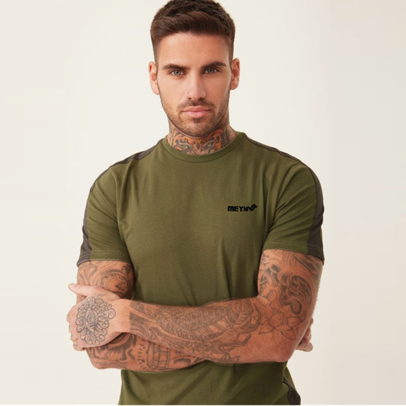 Summer New Fitness Mens t-shirt Bodybuilding Shirts Male Fashion Casual Short sleeve Stitching cotton Tees Tops gyms clothing
