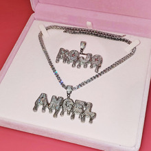 Iced Out Dripping Initials Name Necklace Bling Zirconia Name Plate Custom Letters necklace Personalised Jewelry for Women's Gift