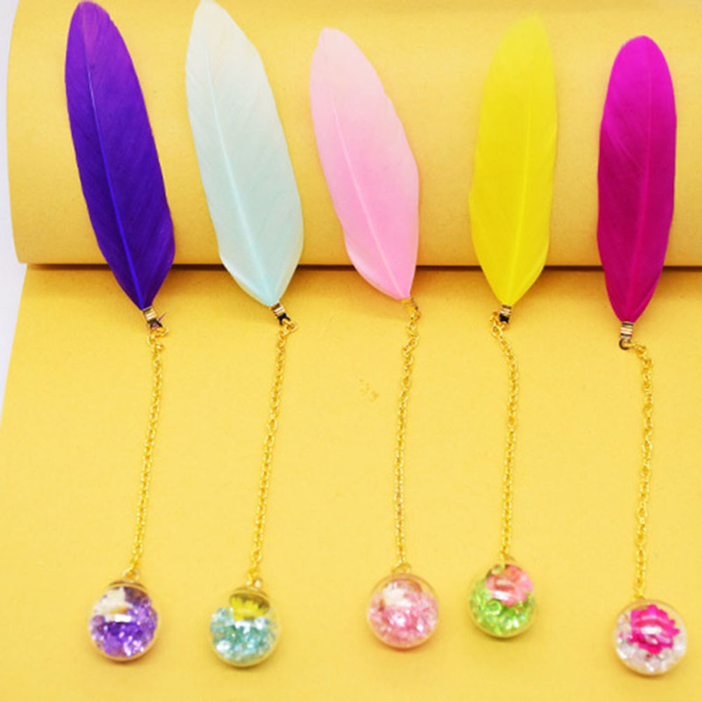 1 Pcs Colorful Feather Glass Ball Bookmark Retro Cute Book Markers Stationery School Office Supplies