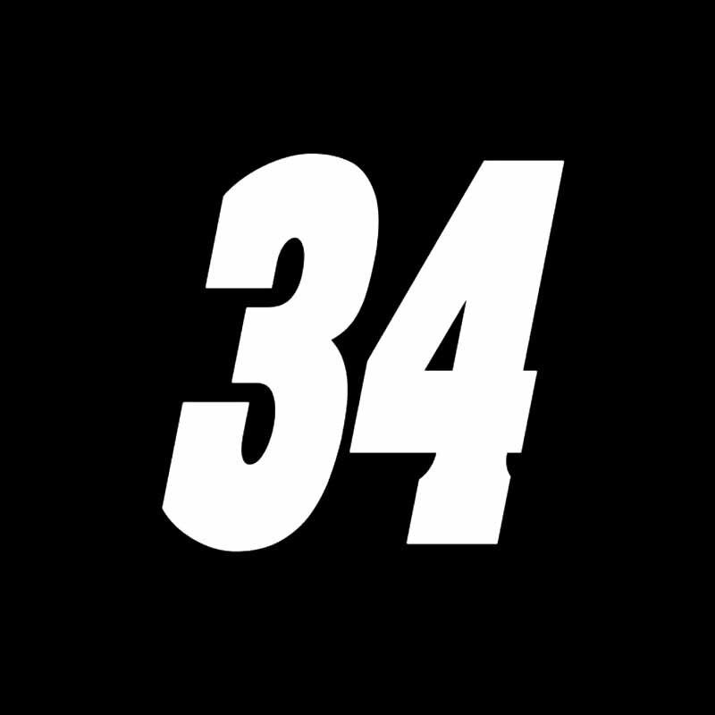 Aliauto интересный номер 34 ПВХ Высокое качество автомобиля стикер украшения солнцезащитный крем водонепроницаемый Светоотражающая наклейка, 13 см* 13 см - Название цвета: Серебристый