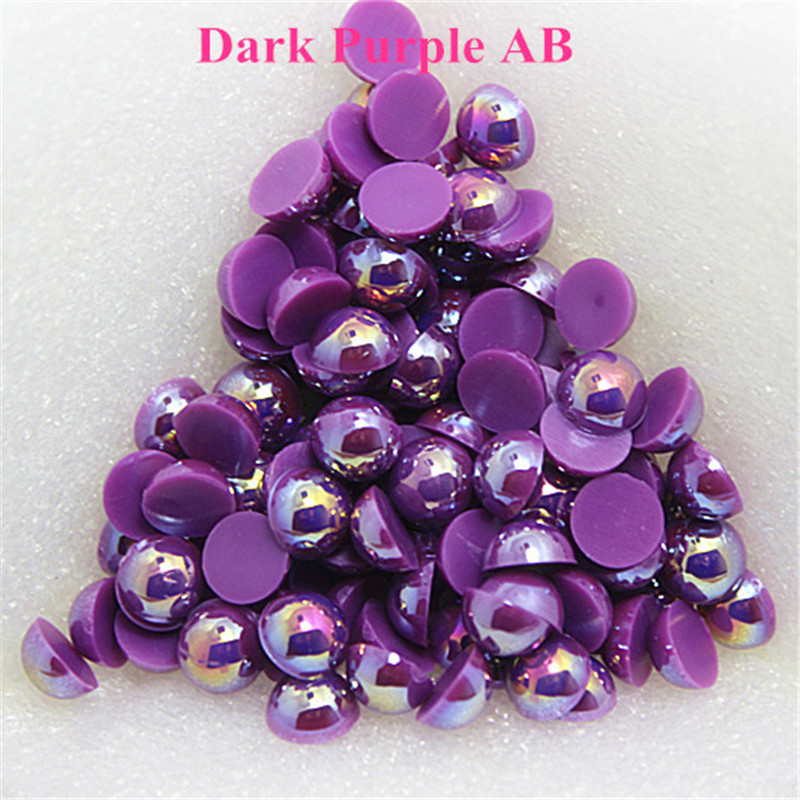 1.5-12mm Flatback Dark Purple AB Half Round Pearl Beads Resin ABS Imitation Pearl Beads DIY Wedding Dress Button Nail