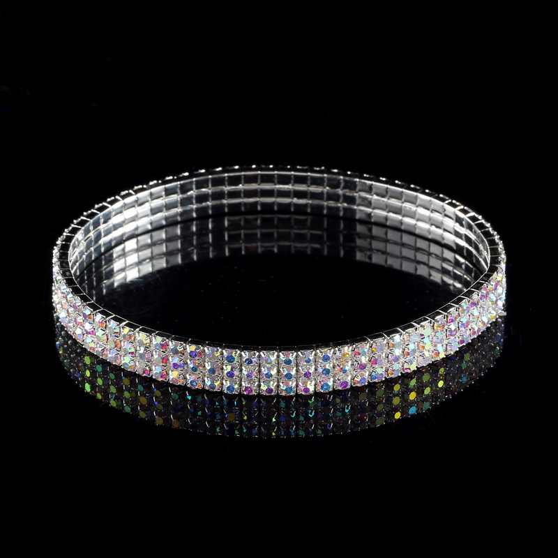 3-Row Three Row Sparkly Crystal Rhinestone Stretch Cz Tennis Ankle Chain Sexy Anklet Bridal Wedding Accessories for Women 5