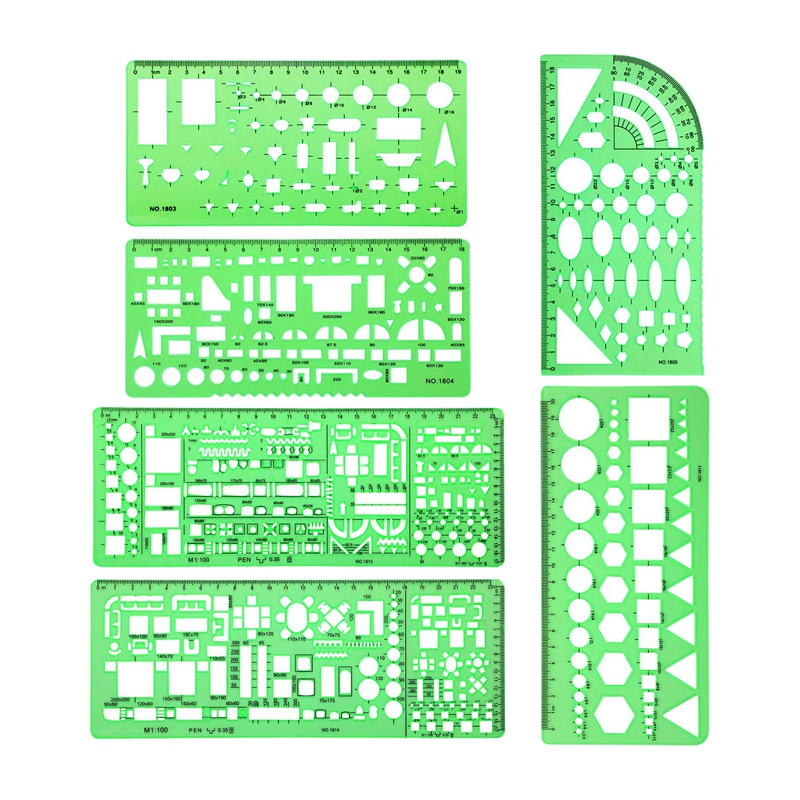 6 Pieces Plastic Measuring Templates Building Formwork Stencils Geometric Drawing Rulers For Office And School,Green