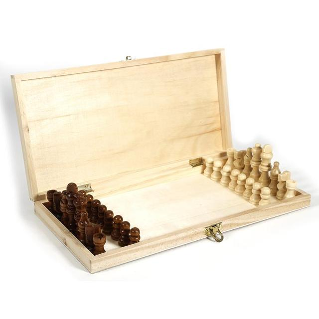 Drôle pliant 34cm X 34cm en bois International échecs ensemble pliable jeu de société Portable jeux de voyage de société 4