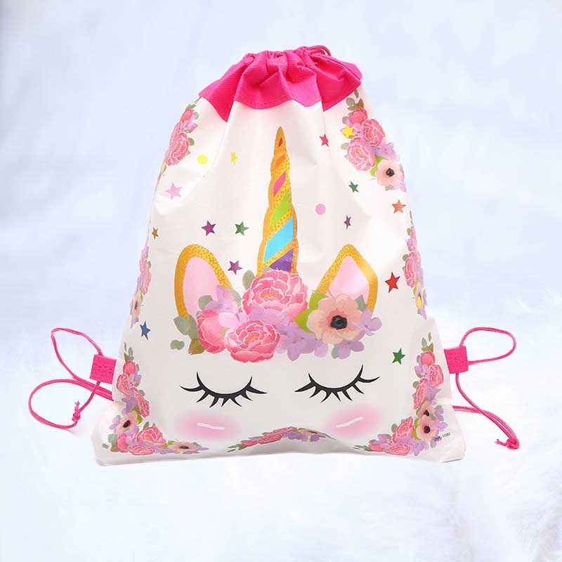 Drawstring Bundle Pocket Bag Unicorn Mini Non-woven Bundle Pocket  Backpack Storage Package Children Birthday Party Favors