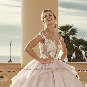 Image 3 - 2020 Prinses Baljurk Trouwjurken Vestido De Noiva Princesa Shiny Kralen Pailletten Applicaties Lace See Through Gown Gelinlik