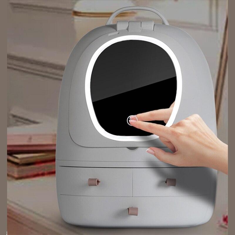 Caja de almacenamiento de cosméticos luz LED para tocador espejo organizador de maquillaje cajón a prueba de polvo caja de acabado de escritorio estuche de maquillaje USB portátil