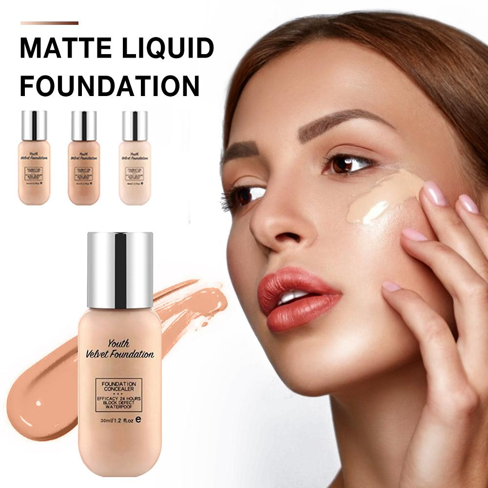 Matte Liquid Foundation - Long Lasting Waterproof Moisturizing Anti-Aging Liquid Concealer Base Make Up For All Skin Types image