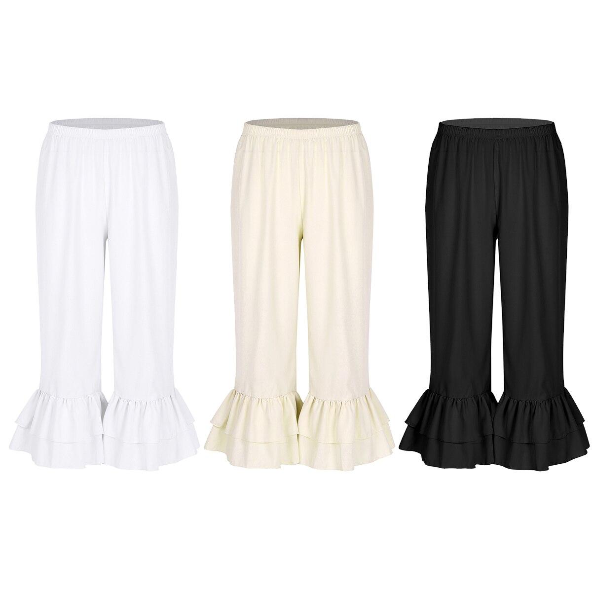 Women Ladies Sweet Dance Trousers Retro Vintage Elastic Waist Ruffles Hem Pantaloons Bloomers Underpants Victorian Era Costume